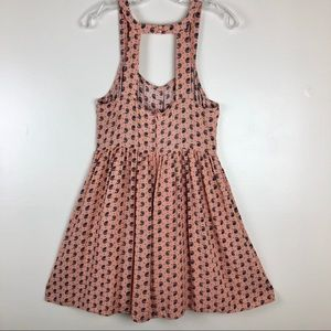 Umgee Print Dress Cut-Out Back Size Large